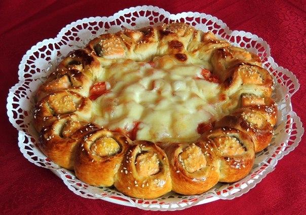 Пирог с семгой из слоеного теста с рисом рецепт