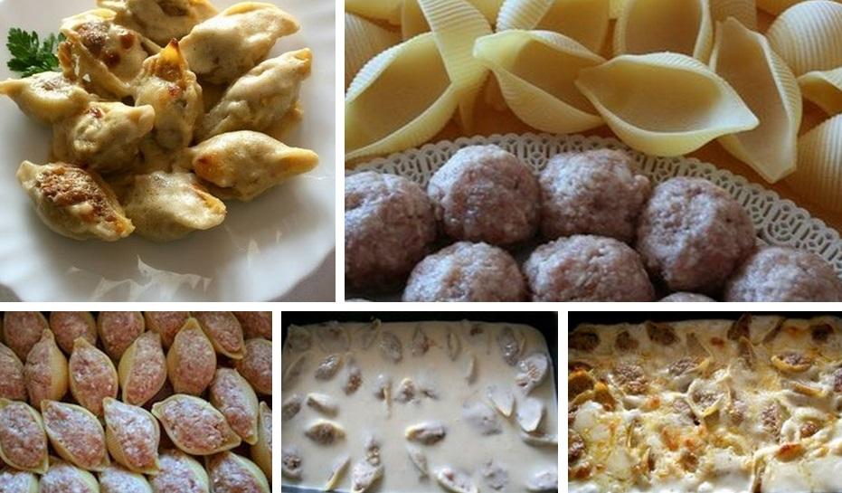Пошаговый рецепт с фаршированных макарон ракушек с
