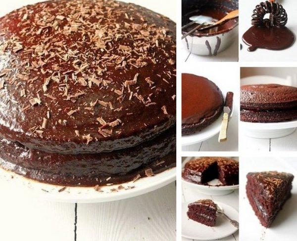 шоколадный торт в шоколадной глазури