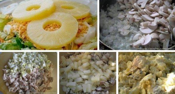 Салат с ананасом курицей грибами сыром
